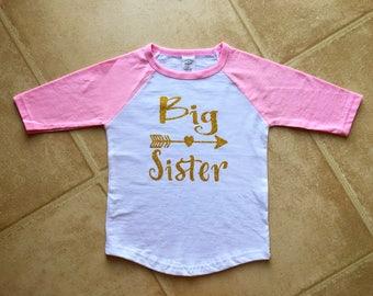 Big Sister Pink and gold baseball tee