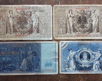 Lot of 4 Old Germany 1000 Mark Banknote 1910,Old German Banknote 100 mark 1908
