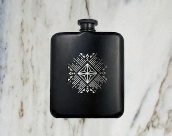 6 oz Coated Flask, Black Gemstone