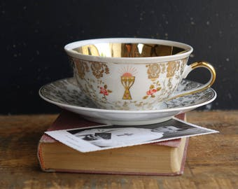 Cup and saucer porcelain - for Communion Decoration - genuine porcelain in France-