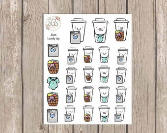 JITTERS LAUNDRY DAY - Coffee Planner Stickers, Planner Stickers, Planner, laundry day, coffee, functional stickers, coffee stickers, laundry