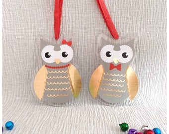 Cute Christmas owls, Wall hanging, Mr and Mrs Owl, hanging Christmas decoration, Christmas tree decoration, festive, Christmas