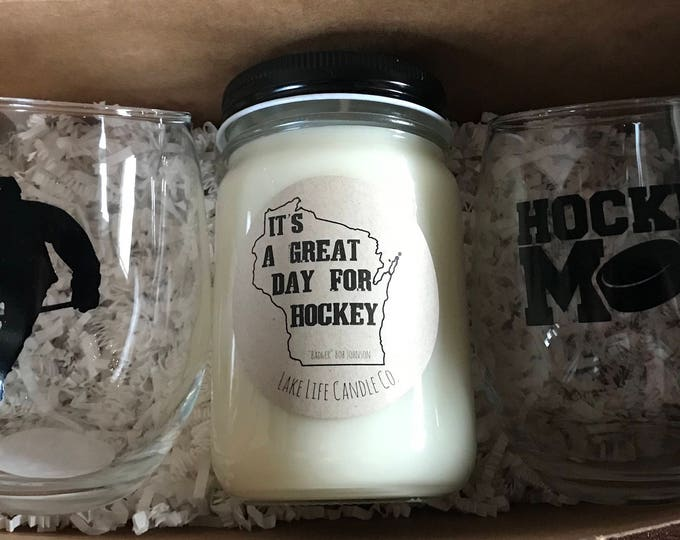 Custom Handmade Stemless Wineglasses and Soy Candle Hockey Gift Set. Lake Life Candle Co.