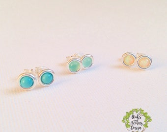 Simple silver studs / gemstone stud earrings / minimalist silver studs / opal studs / turquoise studs / chrysoprase studs / gift for her