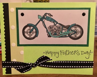 Happy Father's Day Handmade one of a kind Card blank inside  (white envelope included when shipped) motorcycle dad