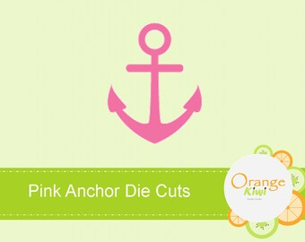 Pink Anchor Die Cuts, Girl Baby Shower Die Cuts, Nautical Baby Shower Confetti, Embellishments, Cupcake Toppers
