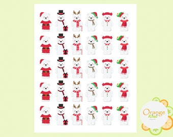Christmas Bear Stickers, Polar Bear Stickers, Christmas Stickers, Christmas Bears, Bear Stickers, Planner Stickers, Erin Condren