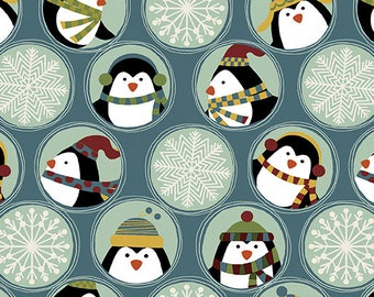 Benartex - Jolly Penguin & Friends 10042-55 Friends, Flakes Blue Multi **HALF YARD CUTS**