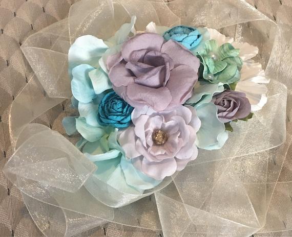Teal/blue/grey bump bouquet belly corsage pregnancy sash photo prop baby shower