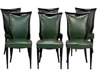 Set of Six Dark Wood Frame Chairs Attributed to Osvaldo Borsani [7885]