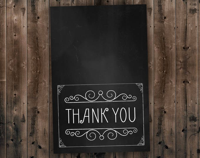Affordable Chalkboard Wedding Thank You Card, Cheap Wedding Invitations, Rustic Wedding, Vintage, Black and White, Classic, Country