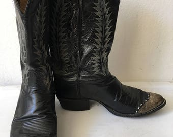 Black men's cowboy boots, from real lizard leather, soft leather, vintage style, western boots, old boots, retro boots, men's size 11 D.