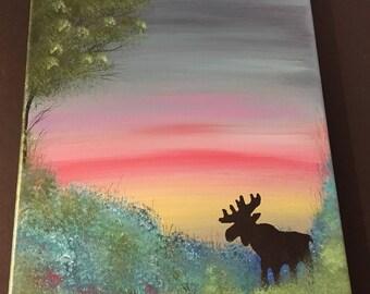 Sunset Friend, an original 11x14 acrylic painting on canvas