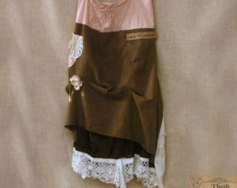 Brown and striped steampunk skirt in wool, cotton and lace. Draped skirt. Plus size xl.