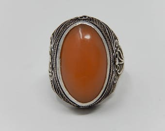 Old Silver Ring with Stone Carnelian, Free Shipping!