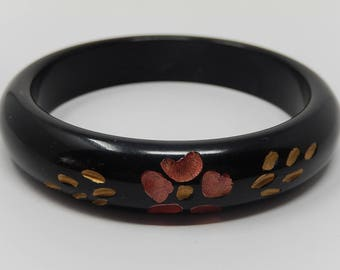 Bangle, black bracelet, Art Nouveau, plastic material, free shipping