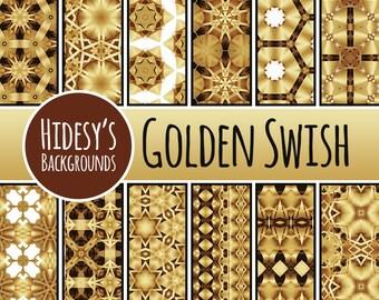 Golden Swish Digital Paper Patterns / Backgrounds Commercial Use Backgrounds