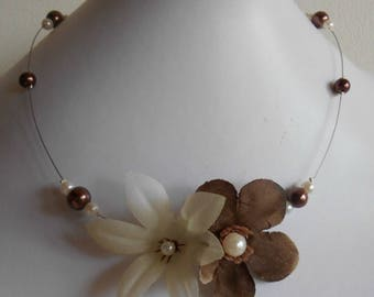 Pair of Brown and white beaded flowers bridal necklace