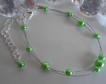 Bracelet wedding 2 rows green pearls
