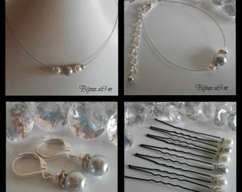 Set of 4 wedding pieces rhinestone and white pearls and clear grey