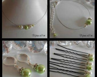 Set of 4 wedding pieces rhinestone and Pearl White and lime green