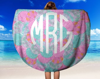 Lilly Pulitzer Inspired Round Beach Towel, Lilly Pulitzer Inspired Monogrammed Towel, Monogrammed Round Beach Towel, Preppy Beach Towel