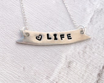 Love Life Banner Necklace, Hand Stamped, Pewter