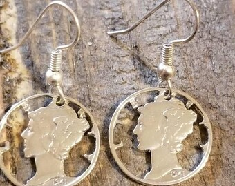 Silver mercury dime earrings handcut