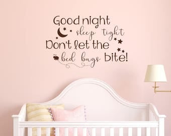 Good Night Wall Decal - Nursery Wall Decal - Removable Vinyl Wall Decal