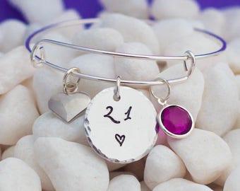 21st birthday gift, 21st birthday, adjustable bangle, birthstone jewelry, birthday bracelet, keepsake, gift for daughter, granddaughter gift