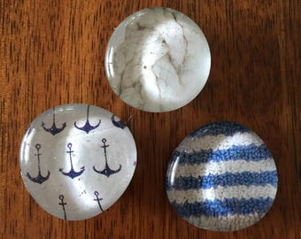 Nautical set of three glass marble magnets