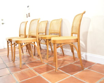 Mid Century Dining Chair SET Cane by Josef Hoffman Thonet Bentwood 811 Prague Chair