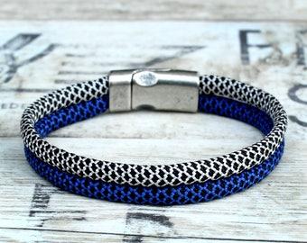 Mens rope bracelet, blue rope bracelet, blue woven bracelet, blue braided bracelet, braided cord bracelet, womens braided bracelet, men gift