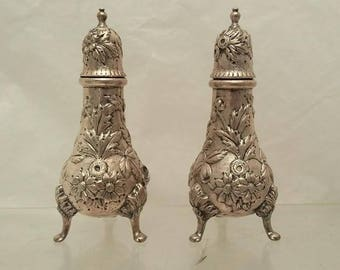 S. Kirk & Son Sterling Salt and Pepper Shakers Repousse