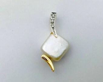 Pearl Diamond Pendant -14k Gold Pearl Diamond Pendant