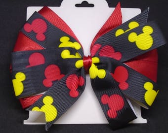 """6"""" Red and Black Mickey Mouse Bow"""
