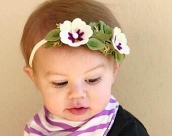 Felt flower Headband // Pansy flower headband // Felt flower birthday crown // Baby Nylon headband // kikiandbee