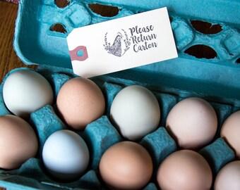 Please Return Carton Stamp - Chicken in Flowers - Egg Carton Stamp