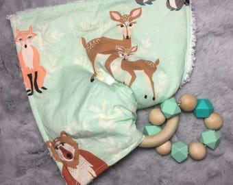 Crinkle Paper Toy, Sensory Teething Ring Crinkle blanket, Teether, Baby Gift, Removable Teether