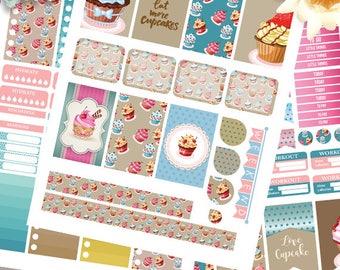Cupcake Planner Stickers Printable, Cupcake Kit BIG MAMBI Happy planner, Weekly Kit, Printable Sampler,Instant download, Big Happy Planner