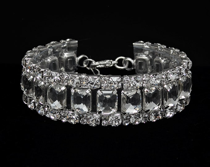 Heather Clear Crystal Competition Bracelet for IFBB, NPC, and NANBF Bikini Fitness Bodybuilding Contests