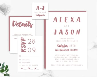 Dusty Rose Wedding Invitation Template, Printable Wedding Invitation Template, Rose Gold, Invitation Template, Invitation Set, diy wedding