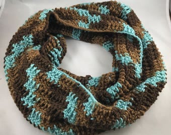 Brown and Blue Infinity Scarf Handmade Crocheted