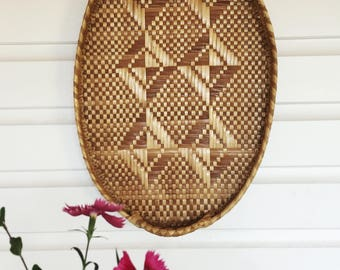 Vintage Tribal Natural Seagrass Hand Woven Tray Eclectic Boho Decor Wall Hanging