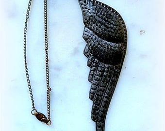 Vintage fallen angel wing necklace