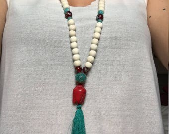 Buddha, wooden beads necklace