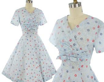 50s Blue Floral Semi Sheer Dress-50's Princess Style Dress-1950s Swing-vfg-Flocked-Flowers-Wrap Bodice -Bow Accent-Midi Skirt