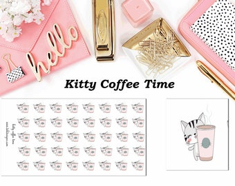 Kitty Coffee Time//Planner Character Stickers//EC//HP