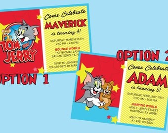 Tom & Jerry Invitation! 2 Options Available, Same Great Price! Digital File, Print at Home.