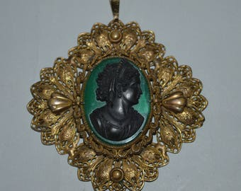 Victorian Black Cameo in Filigree Mount Pendant